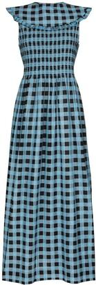 Ganni Checked Ruffled Collar Dress