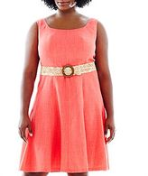 JCPenney 9 & Co.® Belted Fit-and-Flare Dress - Plus