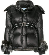 Prada fox fur cuffed padded jacket