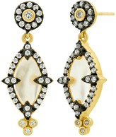 Freida Rothman Two-Tone Sterling Silver Mother of Pearl & CZ Marquise Drop Earrings