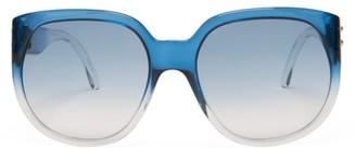 Fendi Oversized Round Gradient-acetate Sunglasses - Blue