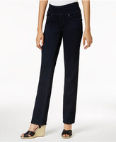Jag Petite Peri Straight-Leg Pull-On Dark Wash Jeans