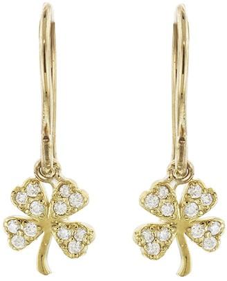 Jennifer Meyer Mini Diamond Clover Earrings - Yellow Gold