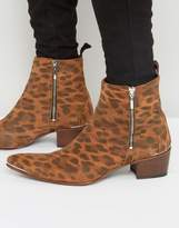 Jeffery West Sylvian Leopard Zip Boots