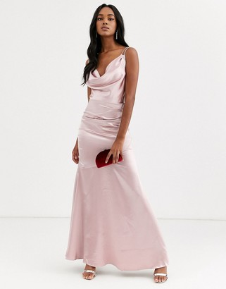 City Goddess cowl neck with strappy back satin maxi dress-Pink