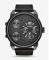 Express black leather strap oversized multi-function watch