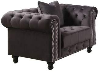 Best Master Furniture Wakefield Upholstered Tufted Gray Arm Chair