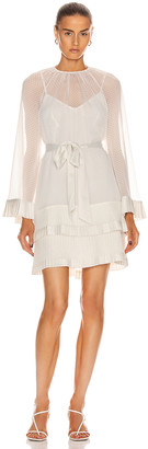 Zimmermann Tiered Flared Mini Dress in Pearl | FWRD