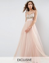 Needle & Thread Needle and Thread Embroidered Bodice Maxi Dress With Tulle Skirt