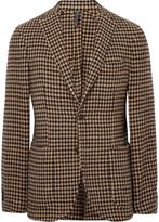 Incotex - Brown Slim-fit Unstructured Houndstooth Wool-blend Blazer