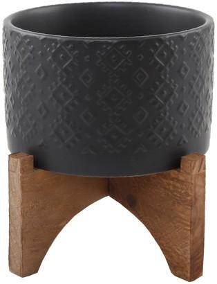 "Flora Bunda 5"" Indian Ceramic Planter on Wood Stand - Matte Black"