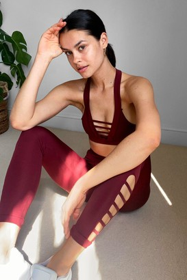 Nasty Gal Womens Work It Cut-Out Workout Leggings - Burgundy