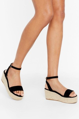 Nasty Gal Womens Woven to Play Faux Suede Platform Sandals - Black - 3