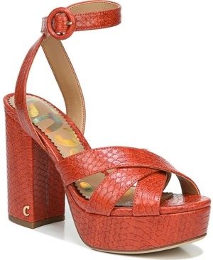 Sam Edelman Kamy Cross-Band Platform Sandals Women's Shoes