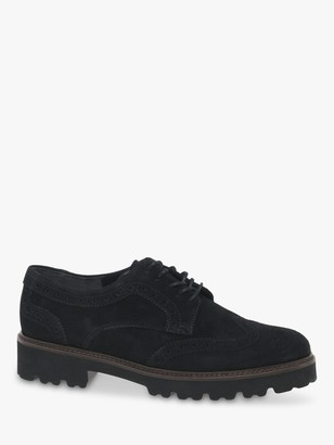 Gabor Sweep Suede Chunky Lace Up Brogues, Black