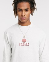 Parlez Purcel long sleeved top with embroidered chest logo in grey