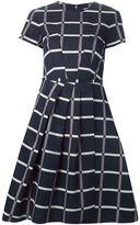 Jil Sander Navy pleated check print dress