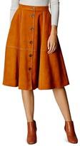 Karen Millen Faux-Suede Button Skirt
