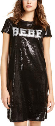 Bebe Sequined Varsity Logo T-Shirt Dress