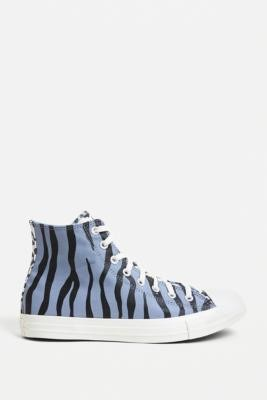 Converse Chuck Taylor Blue Archive Animal Print High Top Trainers - Blue UK 9 at Urban Outfitters