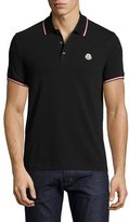 Moncler Tipped Piqué Polo Shirt, Black