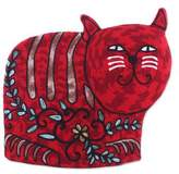 Delightful Cat in Red Cat-Shaped Aari Embroidered Wool Tea Cozy in Red from India