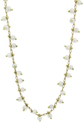 Ten Thousand Things Studded Pearl Choker Necklace - Yellow Gold