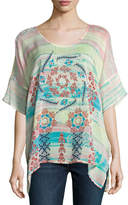 Johnny Was Bay Mix-Printed Georgette Poncho, Multi, Plus Size