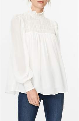 Habitual Willow Smocked Mock Neck Blouse