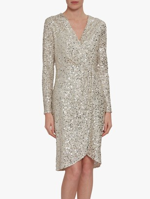 Gina Bacconi Nidia Sequin Dress, Oyster