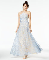 Speechless Juniors' Embroidered Halter Gown
