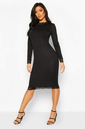 boohoo Lace Detail High Neck Long Sleeve Midi Dress