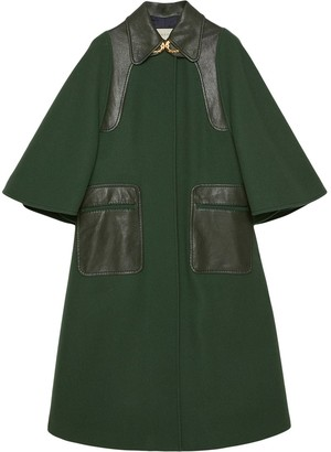 Gucci Leather Detailing Oversized Coat