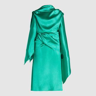 Christopher Kane Green Draped Crinkle Satin Midi Dress IT 40