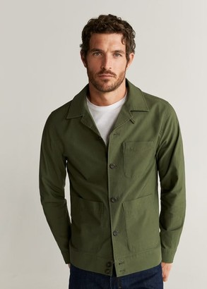 MANGO MAN - Pocketed cotton jacket khaki - S - Men