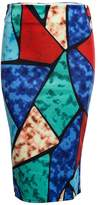 BeautyGal Women's Pencil High Waist Printed Color Block Midi Skinny Skirt