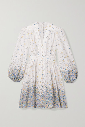 Zimmermann Carnaby Floral-print Linen Mini Dress - Ivory