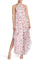 Love Squared Floral Halter Neck Curved Chiffon Maxi Dress