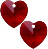 Swarovski 2 Siam Crystal Heart Pendant 6202 14mm