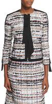 Oscar de la Renta 3/4-Sleeve Tweed Jacket, Camel