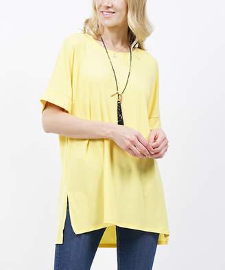 Lydiane Women's Tee Shirts YELLOW - Yellow Crewneck Roll-Cuff Side-Slit Top - Plus