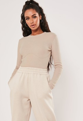 Missguided Sand Corset Detail Ribbed Bodysuit