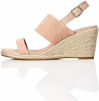 Find. Amazon Brand Wedge Leather Espadrille Open Toe Sandals Pink) 6 UK