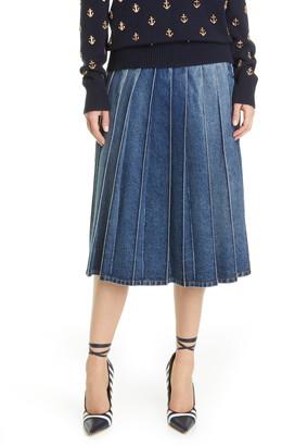 Michael Kors Pleated Denim Skirt