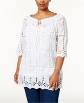INC International Concepts Plus Size Eyelet Peasant Top, Created for Macy's