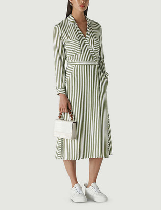Whistles Stripe woven wrap midi shirt dress