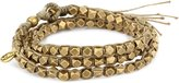 M.Cohen Handmade Designs M. Cohen Handmade Designs Large Brass Beads on Taupe Waxed Cord Triple Wrap Bracelet
