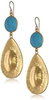 Devon Leigh Turquoise and Yellow Gold-Plated Teardrop Earrings