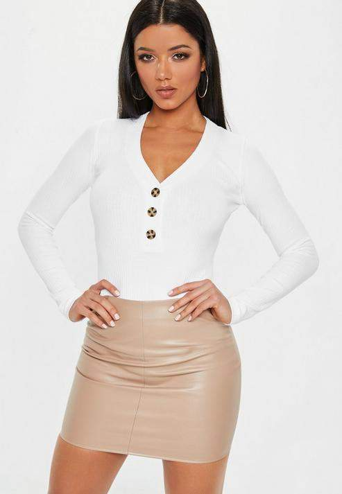 Missguided Tall White Horn Button Ribbed Plunge Bodysuit