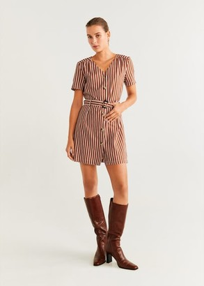 MANGO Belted striped shirt dress brown - 2 - Women